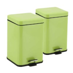 SOGA 2X 12L Foot Pedal Stainless Steel Rubbish Recycling Garbage Waste Trash Bin Square Green