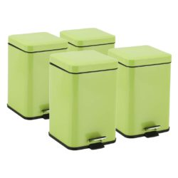SOGA 4X 6L Foot Pedal Stainless Steel Rubbish Recycling Garbage Waste Trash Bin Square Green