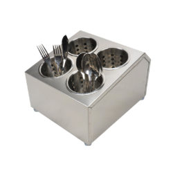 SOGA 18/10 Stainless Steel Commercial Conical Utensils Square Cutlery Holder with 4 Holes