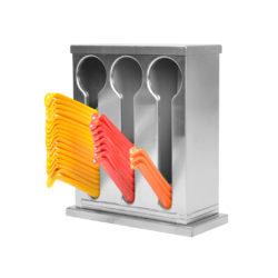 SOGA Stainless Steel Buffet Restaurant Spoon Utensil Holder Storage Rack 3 Holes