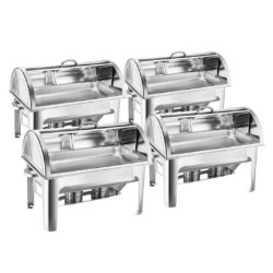 SOGA 4X 9L Stainless Steel Full Size Roll Top Chafing Dish Food Warmer