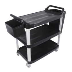 SOGA 3 Tier Food Trolley Food Waste Cart With Two Bins Storage Kitchen Black Large