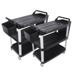 SOGA 2X 3 Tier Food Trolley Food Waste Cart w/ 2 Bin Food Utility Kitchen Large