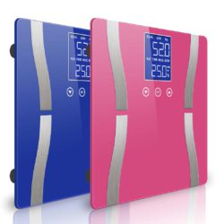 SOGA 2 x Digital Body Fat Scale Bathroom Scales Weight Gym Glass Water LCD Blue/Pink