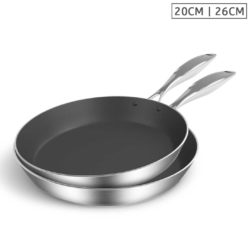 SOGA Stainless Steel Fry Pan 20cm 26cm Frying Pan Induction Non Stick Interior