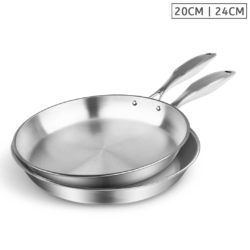SOGA Stainless Steel Fry Pan 20cm 24cm Frying Pan Top Grade Induction Cooking