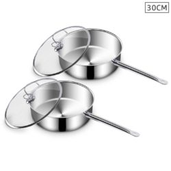 SOGA 2X 30cm Stainless Steel Saucepan With Lid Induction Cookware With Triple Ply Base