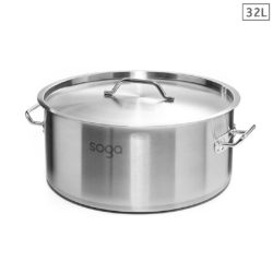 SOGA Stock Pot 32L Top Grade Thick Stainless Steel Stockpot 18/10