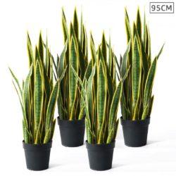 SOGA 4X 95cm Artificial Indoor Yellow Edge Tiger Piran Fake Decoration Tree Flower Pot Plant
