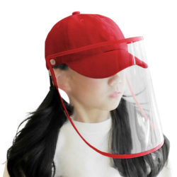 Outdoor Protection Hat Anti-Fog Pollution Dust Saliva Protective Cap Full Face HD Shield Cover Kids Red