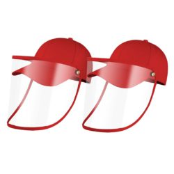2X Outdoor Protection Hat Anti-Fog Pollution Dust Saliva Protective Cap Full Face HD Shield Cover Kids Red