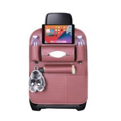 SOGA Leather Car Back Seat Storage Bag Multi-Pocket Organizer Backseat and iPad Mini Holder Coffee