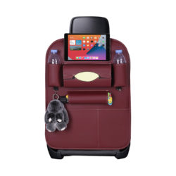 SOGA Leather Car Back Seat Storage Bag Multi-Pocket Organizer Backseat and iPad Mini Holder Red