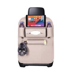 SOGA Leather Car Back Seat Storage Bag Multi-Pocket Organizer Backseat and iPad Mini Holder White