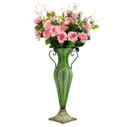 SOGA Green Colored Glass Flower Vase with 6 Bunch 5 Heads Artificial Fake Silk Rose Home Decor Set