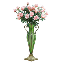 SOGA Green Colored Glass Flower Vase with 8 Bunch 5 Heads Artificial Fake Silk Rose Home Decor Set