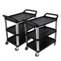 SOGA 2X 3 Tier 83.5x43x95cm Food Trolley Food Waste Cart Food Utility Mechanic Kitchen Small