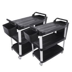 SOGA 2X 3 Tier 83x43x95cm Food Trolley Food Waste Cart w/ 2 Bins Storage Kitchen Small