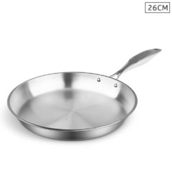 SOGA Stainless Steel Fry Pan 26cm Frying Pan Top Grade Induction Cooking FryPan