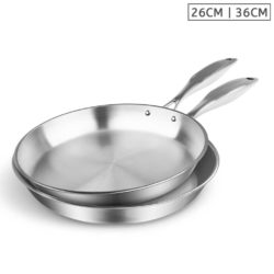 SOGA Stainless Steel Fry Pan 26cm 36cm Frying Pan Top Grade Induction Cooking