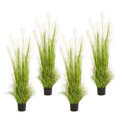 SOGA 4X 120cm Green Artificial Indoor Potted Reed Grass Tree Fake Plant Simulation Decorative