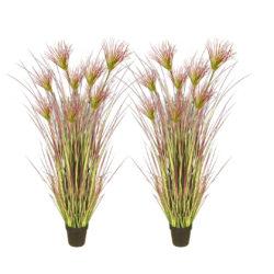 SOGA 2X 120cm Purple Artificial Indoor Potted Papyrus Plant Tree Fake Simulation Decorative