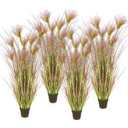 SOGA 4X 120cm Purple Artificial Indoor Potted Papyrus Plant Tree Fake Simulation Decorative