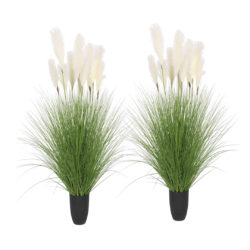 SOGA 2X 110cm Artificial Indoor Potted Reed Bulrush Grass Tree Fake Plant Simulation Decorative