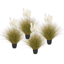 SOGA 4X 137cm Artificial Indoor Potted Reed Bulrush Grass Tree Fake Plant Simulation Decorative