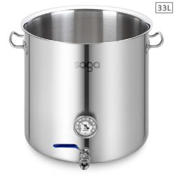 SOGA Stainless Steel 33L No Lid Brewery Pot With Beer Valve 35*35cm
