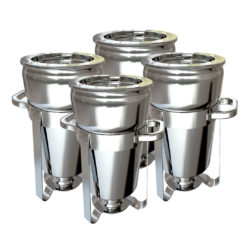SOGA 4X 7L Round Stainless Steel Soup Warmer Marmite Chafer Full Size Catering Chafing Dish