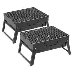 SOGA 2X 43cm Portable Folding Thick Box-type Charcoal Grill for Outdoor BBQ Camping