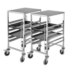 SOGA 2X Gastronorm Trolley 7 Tier Stainless Steel Bakery Trolley Suits GN 1/1 Pans with Working Surface
