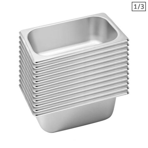 SOGA 12X Gastronorm GN Pan Full Size 1/3 GN Pan 10cm Deep Stainless Steel Tray