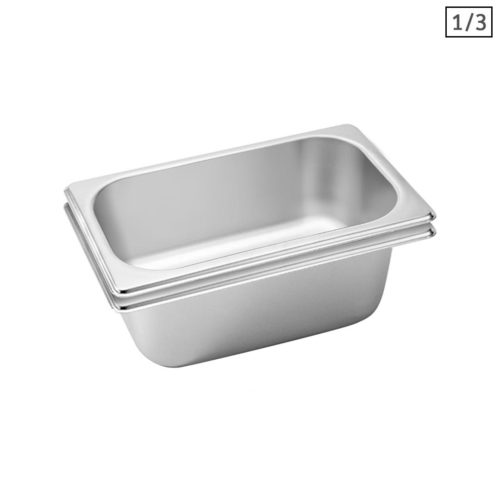 SOGA 2X Gastronorm GN Pan Full Size 1/3 GN Pan 10cm Deep Stainless Steel Tray