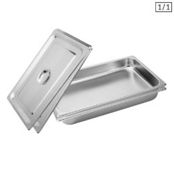 SOGA 2X Gastronorm GN Pan Full Size 1/1 GN Pan 6.5cm Deep Stainless Steel Tray With Lid