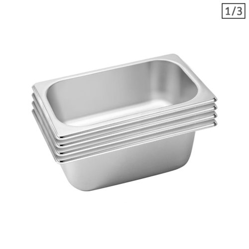 SOGA 4X Gastronorm GN Pan Full Size 1/3 GN Pan 10cm Deep Stainless Steel Tray