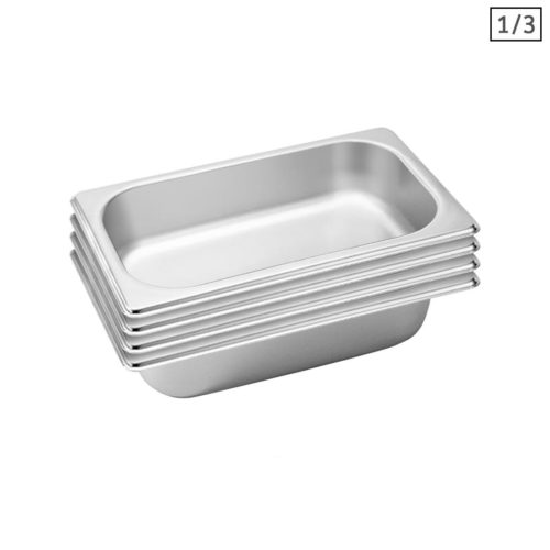 SOGA 4X Gastronorm GN Pan Full Size 1/3 GN Pan 6.5 cm Deep Stainless Steel Tray