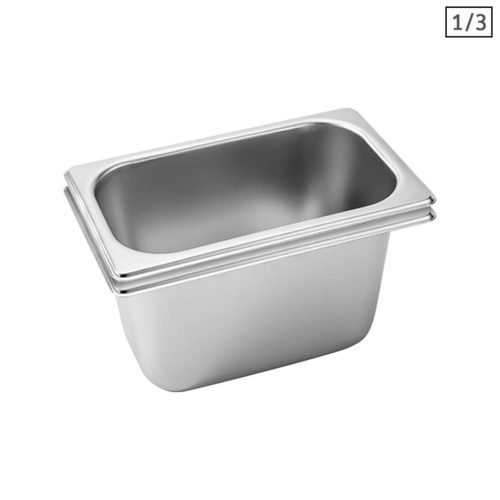 SOGA 2X Gastronorm GN Pan Full Size 1/3 GN Pan 15cm Deep Stainless Steel Tray