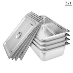 SOGA 4X Gastronorm GN Pan Full Size 1/1 GN Pan 15cm Deep Stainless Steel Tray With Lid