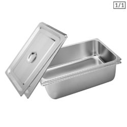 SOGA 2X Gastronorm GN Pan Full Size 1/1 GN Pan 20cm Deep Stainless Steel Tray With Lid