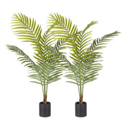 SOGA 2X 120cm Green Artificial Indoor Rogue Areca Palm Tree Fake Tropical Plant Home Office Decor