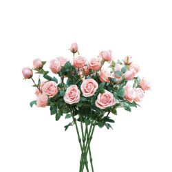 SOGA 8 Bunch Artificial Silk Rose 5 Heads Flower Fake Bridal Bouquet Table Decor Light Pink