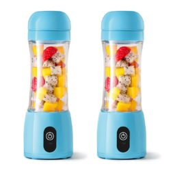 SOGA 2X 380ml Portable Mini USB Rechargeable Handheld Fruit Mixer Juicer Blue