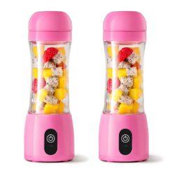 SOGA 2X 380ml Portable Mini USB Rechargeable Handheld Fruit Mixer Juicer Pink