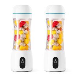 SOGA 2X 380ml Portable Mini USB Rechargeable Handheld Fruit Mixer Juicer White