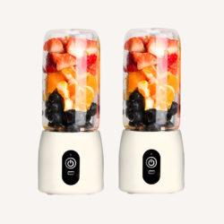 SOGA 2X Portable Mini USB Rechargeable Handheld Juice Extractor Fruit Mixer Juicer White