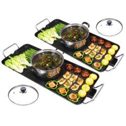 SOGA 2X Electric Steamboat Asian Hot Pot Soup Maker Fondue Teppanyaki Hotpot Grill