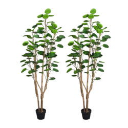 SOGA 2X 150cm Green Artificial Indoor Pocket Money Tree Fake Plant Simulation Decorative