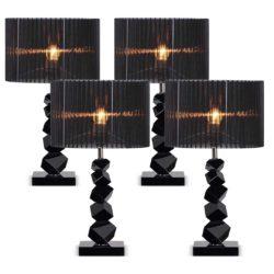 SOGA 4X 60cm Black Table Lamp with Dark Shade LED Desk Lamp